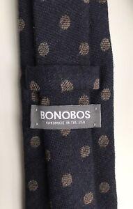 "Bonobos Tie, Mocha Polka Dots on a Navy Ground, 3"" Width, New-w/o-Tags!"