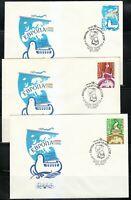 Russia 1989 FDC covers Mi 5955-5957 Sc 5778-5780 Europe.Stork,Dove,Bridge,Globe