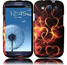 For Samsung Galaxy S III 3 Rubberized HARD Case Snap On Phone Cover Golden Heart