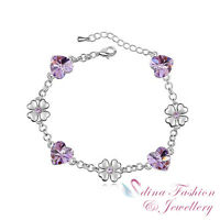 18K White Gold Plated Made With Swarovski Crystal Purple Heart & Flower Bracelet