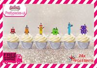 Number Blocks 24 Stand-Up Pre-Cut Wafer Paper Cup cake Toppers
