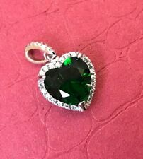 Women's Silver Pendant 'LOVE HEART' Quality Stamped GREEN GLASS STONE