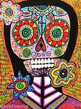 Sandra Silberzweig - 8 X 10 Canvas Print- Day of the Dead Flower Skull