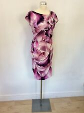 ROBERTO CAVALLI PINK FLORAL PRINT STRETCH SPECIAL OCCASION DRESS SIZE 46 UK 18