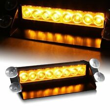 Zone Tech 8 LED Amber Yellow Emergency Car Strobe Flash Light Warning Dash Bar