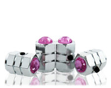 Pink Crystal Locking Chrome Tire Air Valve Stem Cap-CC