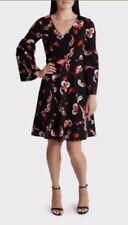 LEONA EDMISTON Floral Feather  A-Line Dress Peasant Sleeve sz 14 NWT Rrp $169.95