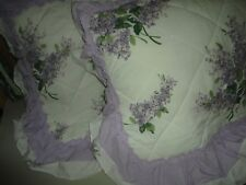 PDK SPRING LILACS PURPLE GREEN OFF-WHITE FLORAL (PAIR) STANDARD PILLOW SHAMS