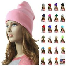 Men Women Plain Beanie Cap Knit Warm Winter Ear Warm Hat Ski Slouchy Cuff Unisex