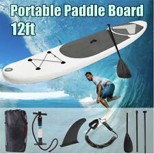 ☆ 12ft Portable Inflatable Surfing Board Surf Stand Up Paddle Board +Leash &Fins