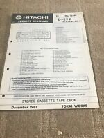 Hitachi D-E99 Series Stereo Cassette Tape Deck  Original Service Manual