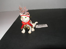Christmas White  Cat Reindeer Antlers Fortunoff  Ornament Figurine w/ tag
