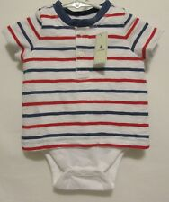 New Infant Boys Baby Gap Bodysuit Double T-Shirt Tee Blue Red 1 Piece 3-6 Month