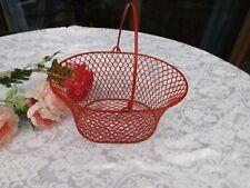 "Wire Metal/plastic red Egg Basket Handle Home kitchen decor organizer 5"" H new"