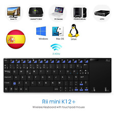 Rii K12 + Spanish Mini keyboard with touchpad WiFi 2.4 GHz stainless steel