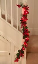 Festive garland  RED  berry Battery lights  1 m long table decor