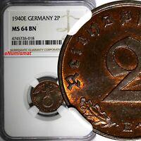 Germany-Third Reich Bronze 1940 E 2 Reichspfennig NGC MS64 BN KEY DATE KM# 90