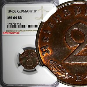Germany-Third Reich Bronze 1940 E 2 Reichspfennig NGC MS64 BN KEY DATE KM#90(18)