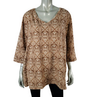 Catherines Womens Top Plus Sz 2X 22/24W Cotton V-Neck 3/4 Sleeve Pullover Brown