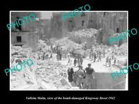 OLD POSTCARD SIZE PHOTO VALLETTA MALTA WWII BOMBING OF KINGSWAY ST 1942