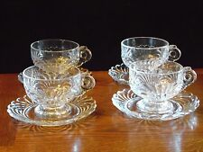 4 Vintage Elegant Clear Cup & Saucer Sets Caprice by Cambridge