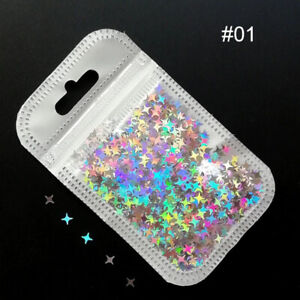 Nail Glitter Sequins Holographicss Star Flakes Paillette 3D Nail Art Tips