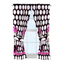 Disney Minnie Mouse Dots Are New Black Microfiber 4 Piece Curtain Panel & Tie...