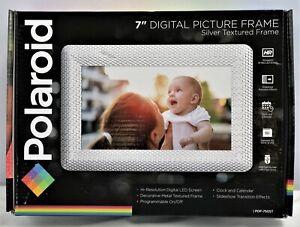 New Polaroid PDF-750ST Digital Photo Frame w/ Textured Silver Metal           A1
