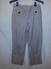 Women's ANN TAYLOR LOFT 4 Yellow White Black Cotton Cuffed Capri PANTS Felt NWOT