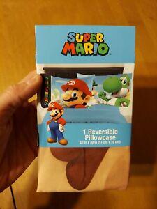 Nintendo Super Mario 1 Reversible Standard Pillowcase Yoshi 20 x 30 in AUTHENTIC