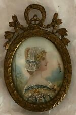 Antique Hand-Painted Miniature Portrait In Victorian Frame Signed By Daisy
