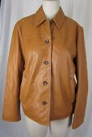 J.Crew Quilted Leather Thinsulate Insulated Button Up Jacket Womens M Camel