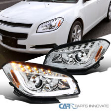 For Chevy 08-12 Malibu Clear LED Signal Strip Projector Headlights Driving Lamps
