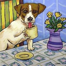 jack russell Terrier at the cafe coffee shop dog art tile coaster gift artwork