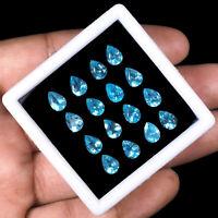 16 Pcs Natural Apatite 7mm/5mm Pear Cut Neon Blue Finest Quality Lusturous Gems