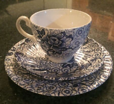 Johnson Brothers 'Lotus' Cup, Saucer and Plate Trio - Blue Design - Ironstone