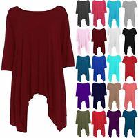 Womens Long Plus Size Hanky Hem Ladies Plain Flared Waterfall Swing Top Dress