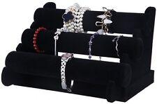 Jewelry Display 3 Tier Bracelet Necklace Display Rack Black Organizer Stand NEW