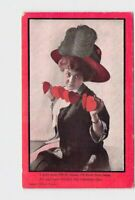 ANTIQUE POSTCARD VALENTINES WOMAN IN RED HAT BIG FEATHER STRING OF HEARTS