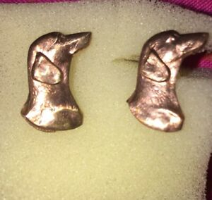 Vintage Unworn 1960s Smooth Dachshund Daxi,Doxi,Weiner,Copper/ Sterling Earrings