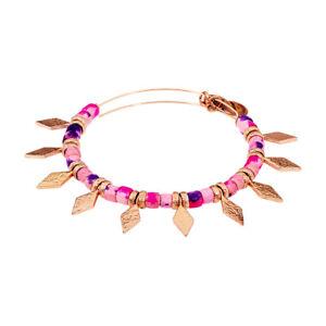 Alex And Ani Coral Spearhead Beaded Bangle Shiny Rose Gold Bracelet A18EBSHCSR