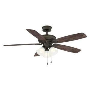 Hampton Bay Wellton 54 in LED Espresso Bronze DC Motor Ceiling Fan with Light