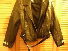 Newport News Black eyelet PVC faux leather biker motorcycle jacket M 12 14