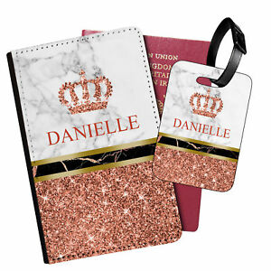 Personalised Marble PU Leather Passport Holder Travel Wallet & Luggage Tag - 89