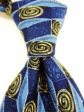 Bolgheri Italian Print Jacquard 100% Pure Silk Tie - Blue/Yellow/White