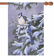 NEW Toland - Two Blues - Winter Blue Jay Bird Snow House Flag