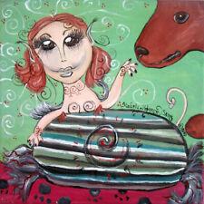 DOG DISCOVERS FAERY Faeries Fae Big Eye Fantasy Goth Wall Art Print 8 x 10 KSAMS