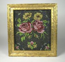 Framed Antique Micro Beaded Purse Section Art Flowers Black Frame Wall