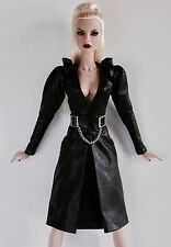 FASHION ROYALTY / EXQUISITE LOW CUT LEATHER DRESS WITH BELT / FITS BARBIE / MINT
