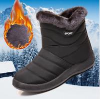 Winter Warm Women Ankle Snow Boots Fur Side Zip Waterproof Slip On Flat Shoes SZ